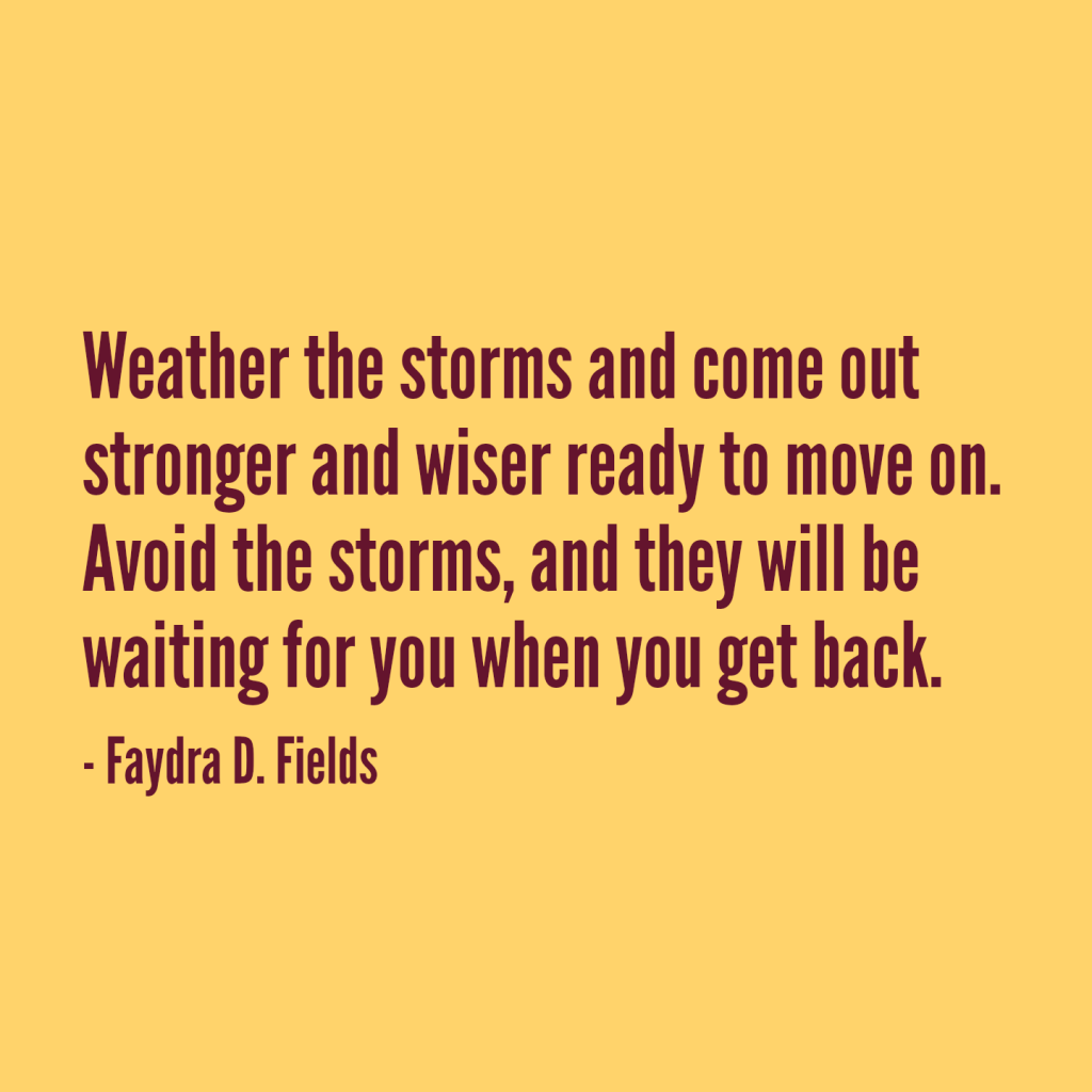 Maximum Axioms for Mental Acuity: Weather the storms and come out stronger and wiser ready to move on. Avoid the storms, and they will be waiting for you when you get back. - Faydra D. Fields